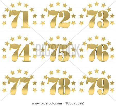 Set of golden digit from seventy one to seventy nine decorated with a circle of stars. 3D illustration