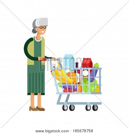 Flat illustration for shop, supermarket. Happy elderly woman with supermarket basket full of meal. Grandmother make purchases in supermarket store.