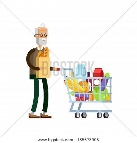 Flat illustration for shop, supermarket. Happy elderly man with supermarket basket full of meal. Grandfather make purchases in supermarket store.