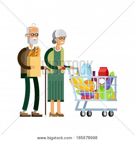 Flat illustration for shop, supermarket. Happy elderly couple with supermarket basket full of meal. Grandmother with grandfather make purchases in supermarket store.