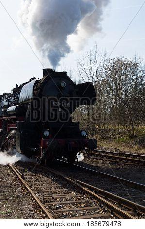 BERLIN - APRIL 21: Steam locomotive MBA 14066 (Orenstein & Koppel) the Spring Festival the exhibition in the Rail yard Schoeneweide April 21 2013 in Berlin Germany
