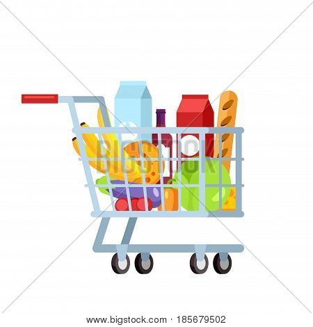 Flat illustration shopping trolley full of fruit and vegetable isolated in white background. Daily supermarket purchases. Healthy and organic, fresh food.