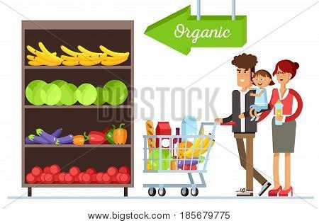Flat illustration for shop, supermarket. Happy family with supermarket basket full of meal. Young couple with their children in supermarket make purchases. Healthy organic product shelf.