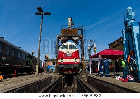 BERLIN - APRIL 21: Diesel locomotive DR Class 119 (