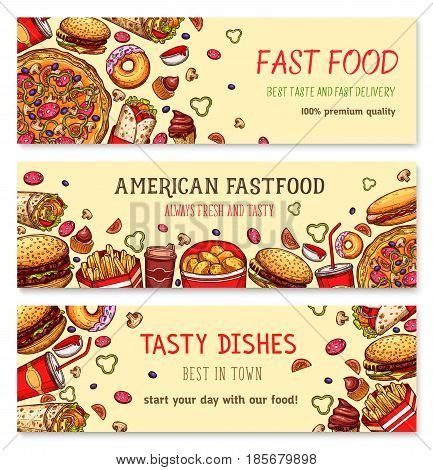 Fast food restaurant vector banner set. Fastfood french fries and popcorn snacks, hamburger and cheeseburger sandwiches and hot dog, chicken nuggets and barbecue wings, ice cream and donut dessert