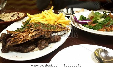 Arabic food in the restaurant , Dubai, United Arab Emirates