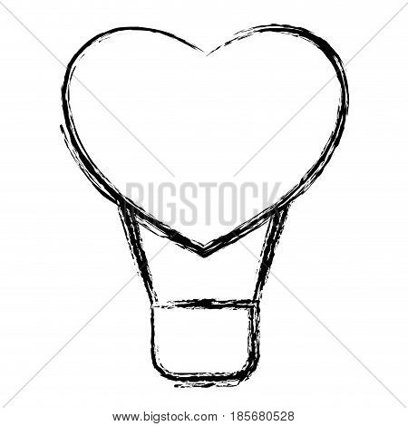 hot air balloon in heart shape icon over white background. vector illustration