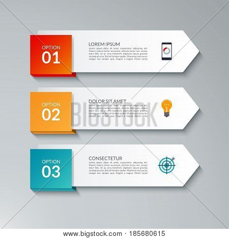 Infographic arrow design template with 3 options steps parts. Can be used for workflow layout diagram chart graph report web banner