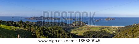 Panorama of Matauri Bay and Cavalli Islands Northland New Zealand on Bright Sunny Afternoon from Roadside Lookout Point