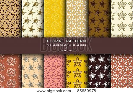Vector set of design elements pattern for chocolate and cocoa packaging - labels and background, wallpaper in trendy linear style. Pattern for cafe, sweet-shop, pastry shop