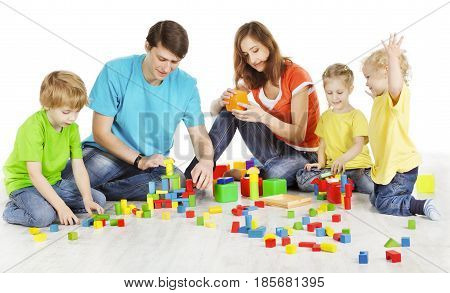 Family and Kids Playing Building Blocks Parents with Children Play Toys two Parent three Child over White Background