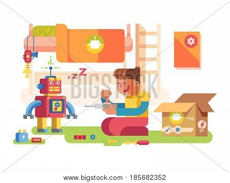 A boy control robot Technology futuristic, science machine, character toy cyborg. Vector illustration