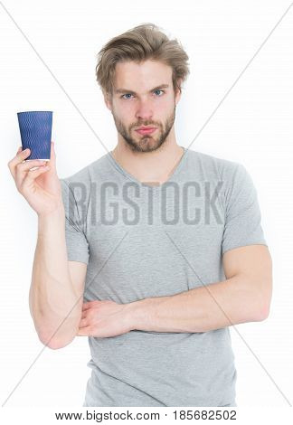 Man Drink From Takeaway Coffee Or Tea Cup
