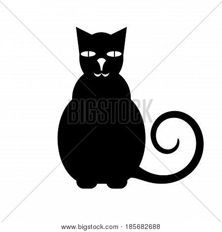 cat vector - black silhouette on white background