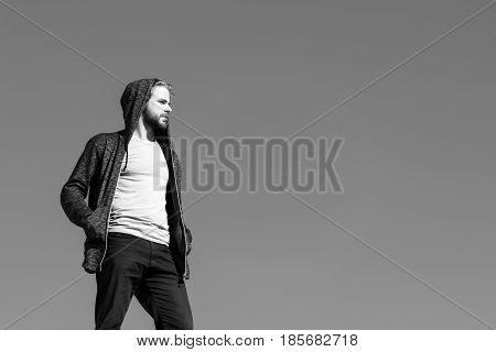 Handsome Man With Beard In Sportswear, Sport Fashion