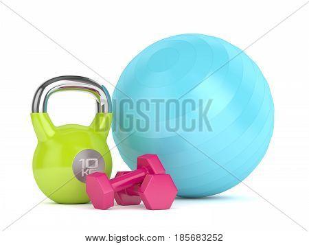 3D Render Of Kettlebell, Fitness Ball And Dumbbells
