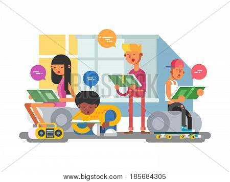 School students group. Education college, people learning, study person, vector illustration