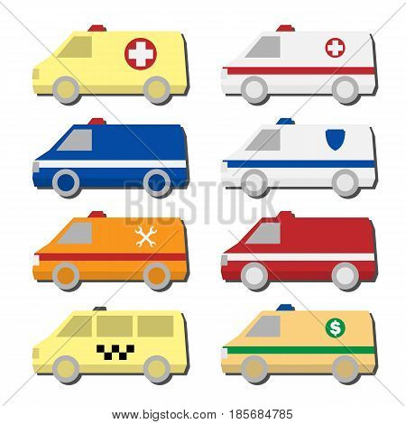Set of different types of automobiles icons in vector. Van symbols - ambulance, police car, fire truck, taxi, service vehicle, tax collector.