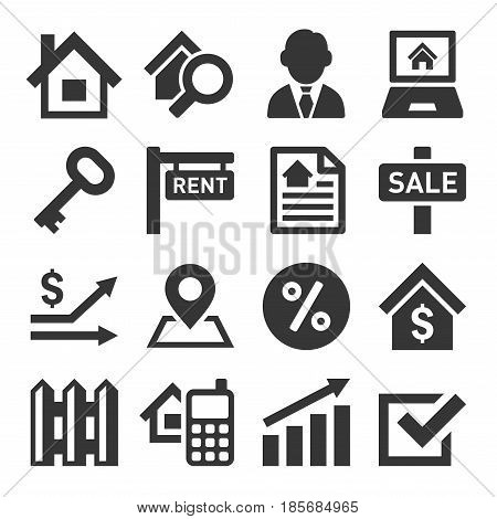 Real Estate Icons on White Background. Vector