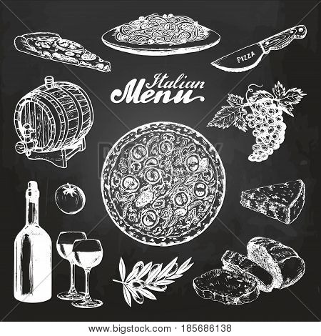 Hand sketched italian menu. Vector mediterranean cuisine food sketches on chalkboard. Pizza, pasta, wine etc illustrations for restaurant, cafe, bar design concepts.