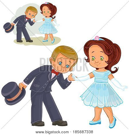 Vector illustration of a little boy and girl dressed in period costumes. Print, template, design element