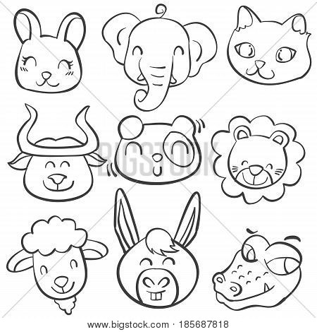 Collection stock of animal head doodles vector art