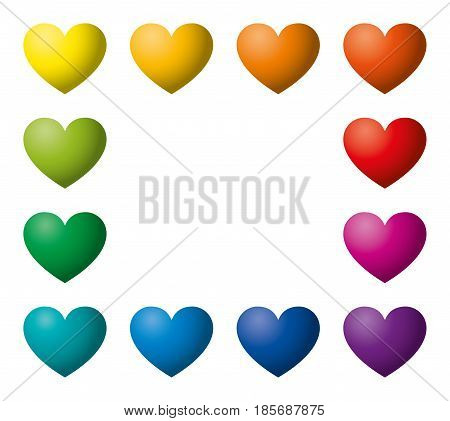 Twelve rainbow color hearts in a rectangle shape. Heart symbols in twelve unique color hues. Isolated illustration on white background. Vector.
