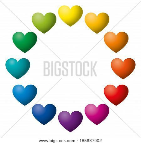 Twelve rainbow color hearts arranged in a circle. Heart symbols in twelve unique color hues. Isolated illustration on white background. Vector.