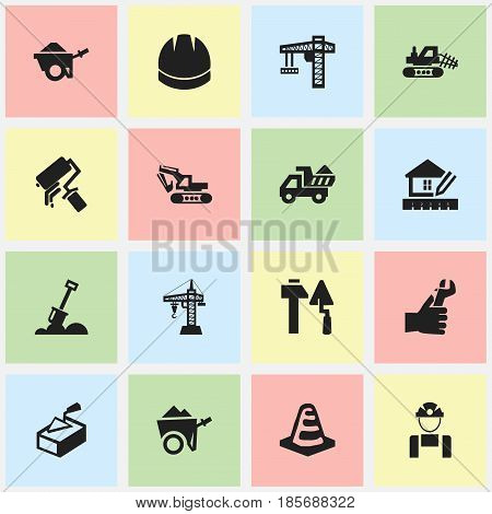 Set Of 16 Editable Structure Icons. Includes Symbols Such As Excavation Machine , Handcart , Oar. Can Be Used For Web, Mobile, UI And Infographic Design.
