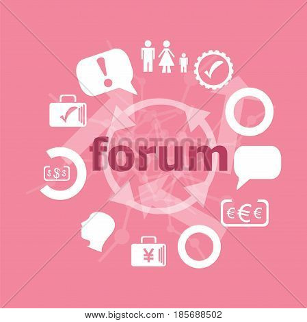 Text Forum. Web Design Concept . Set Of Flat Icons For Mobile App And Web