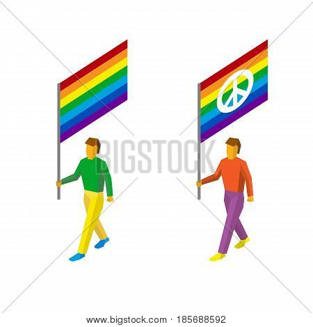 Isometric 3d standard bearers with rainbow flags. LGBT or gay pride banners with and without peace (pacifism) sign. Flat style vector clip art on white background.