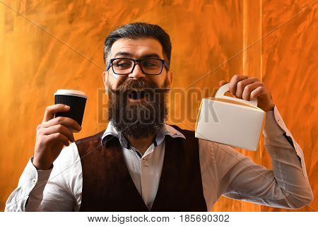 Bearded Man, Brutal Caucasian Hipster Holding Coffee And Meal Box