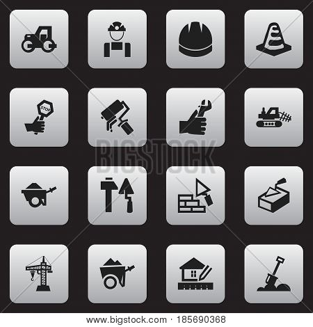 Set Of 16 Editable Construction Icons. Includes Symbols Such As Oar, Facing, Spatula And More. Can Be Used For Web, Mobile, UI And Infographic Design.