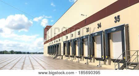 A Large distribution warehouse with gates for loading goods. 3d illustration
