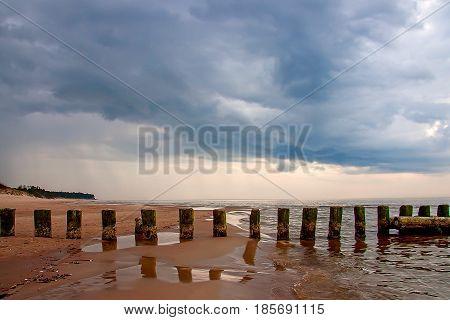 Bernati coast approaching thunderstorm. Baltic Sea. Latvia