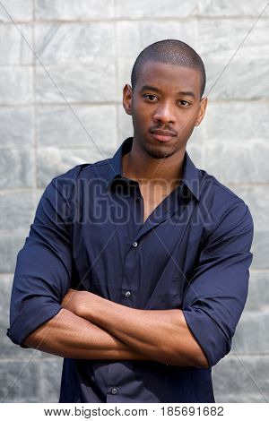 Handsome Black Man Staring With Serious Face Expression