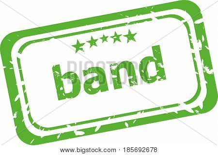 Band Word On Rubber Grunge Stamp Isolated On White