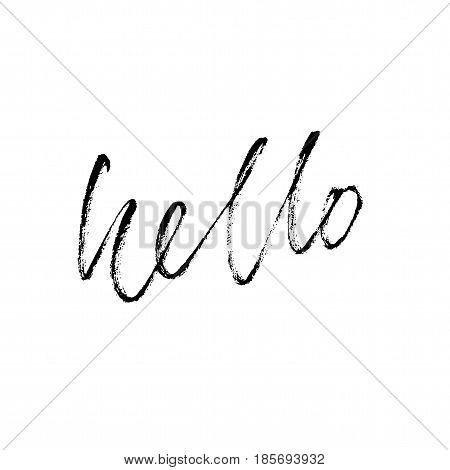 Hello hand drawn lettering. Modern calligraphy. Brush Pen lettering Hello. Handwritten vector Illustration