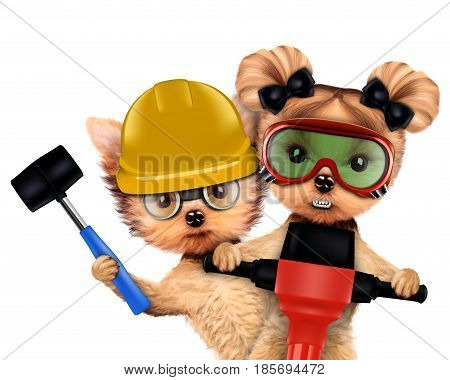 Funny couple of puppies with hard hat, protective goggles and hammer holding jackhammer, isolated on white. Teamwork and cooperation concept. Realistic 3D illustration
