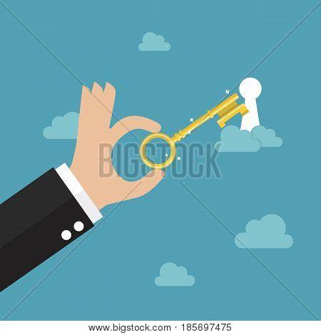 Unlock your dream. Business concept Vector illustration