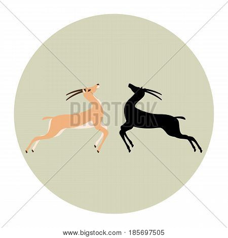 antelope vector illustration style Flat silhouette black