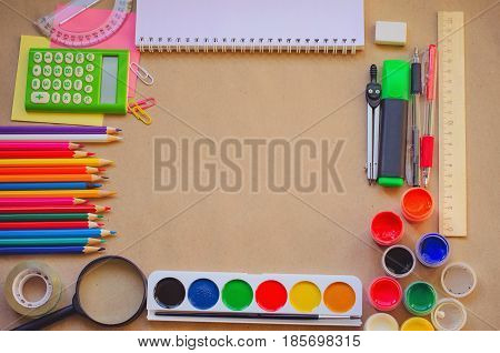 Set Of School Stationary Supplies For Creative Writing And Drawing, Copy Space, Toned Photo, Back To
