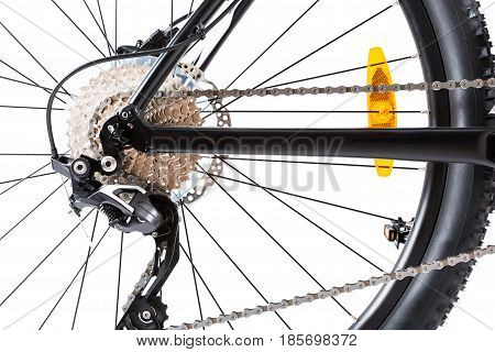 closeup of a 29' hardtail mountainbike's wheel, isolated on white
