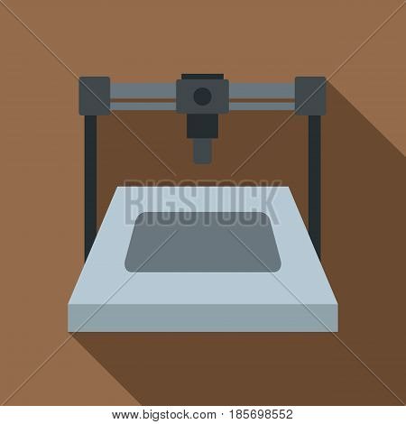 3D printer icon. Flat illustration of 3D printer vector icon for web on coffee background
