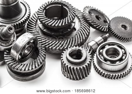 Gear metal wheels isolated on white background