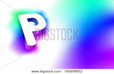 Abstract Letter P. Template of creative glow 3D logo corporate identity of company or brand name letter P. White letter abstract, multicolored, gradient, blurred background. Graphic design elements.