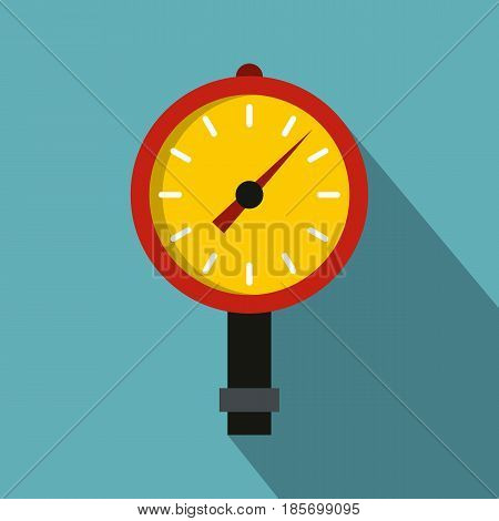Manometer or pressure gauge icon. Flat illustration of manometer or pressure gauge vector icon for web on baby blue background