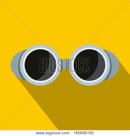 Welding glasses icon. Flat illustration of welding glasses vector icon for web on yellow background
