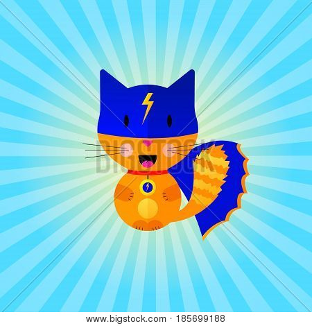 vector flat cat super hero red blue sign zip