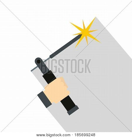 Mig welding torch in hand icon. Flat illustration of mig welding torch in hand vector icon for web on white background